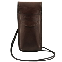 Tuscany Leather Exclusive leather eyeglasses/Smartphone holder Large size - Dark Brown