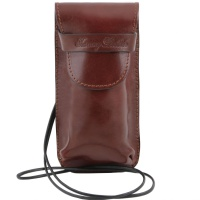 Tuscany Leather Exclusive leather eyeglasses/Smartphone holder Large size - Brown