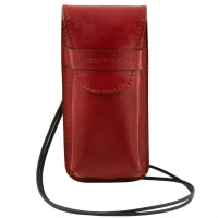 Tuscany Leather Exclusive leather eyeglasses/Smartphone holder Large size - Red
