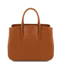 Tuscany Leather Camelia - Leather handbag - Cognac