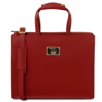 Tuscany Leather Palermo - Dámska kožená business taška - Red