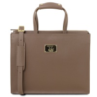 Tuscany Leather Palermo - Dámska kožená business taška - Dark Taupe