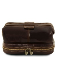 Tuscany Leather Patrick - Leather toilet bag - Dark Brown