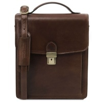 Tuscany Leather Pánska kožená crossbody taška David - väčšia - Dark Brown