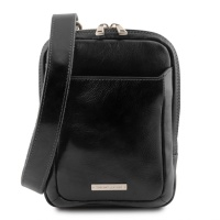 Tuscany Leather Mark - pánska kožená Crossbody taška - Black