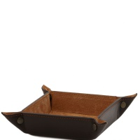 Tuscany Leather Exclusive leather tidy tray small size - Dark Brown