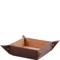 Tuscany Leather Exclusive leather tidy tray small size - Brown