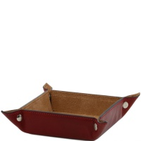 Tuscany Leather Exclusive leather tidy tray small size - Red
