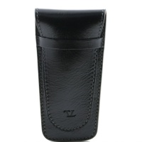 Tuscany Leather Exclusive 2 slots leather pen holder - Black