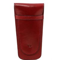 Tuscany Leather Exclusive 2 slots leather pen holder - Red