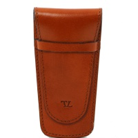 Tuscany Leather Exclusive 2 slots leather pen holder - Honey