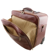 Tuscany Leather Varsavia - Leather pilot case with two wheels -