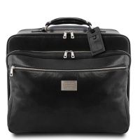 Tuscany Leather Varsavia - Leather pilot case with two wheels - Black