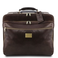 Tuscany Leather Varsavia - Leather pilot case with two wheels - Dark Brown