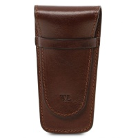 Tuscany Leather Exclusive 2 slots leather pen holder - Brown