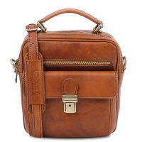 Tuscany Leather Brian - Leather shoulder bag for man - Honey