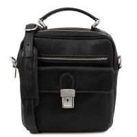 Tuscany Leather Brian - Leather shoulder bag for man - Black