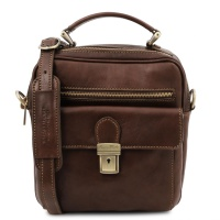 Tuscany Leather Brian - Leather shoulder bag for man - Dark Brown