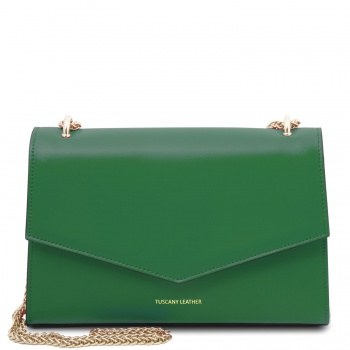Tuscany Leather Fortuna - Leather clutch with chain strap