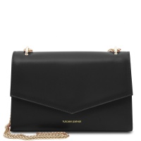 Tuscany Leather Fortuna - Leather clutch with chain strap  - Black
