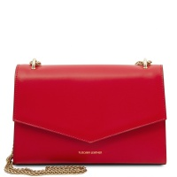 Tuscany Leather Fortuna - Leather clutch with chain strap  - Lipstick Red