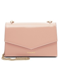 Tuscany Leather Fortuna - Leather clutch with chain strap  - Ballet Pink
