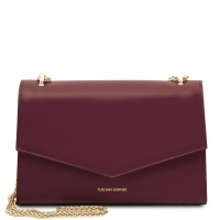 Tuscany Leather Fortuna - Leather clutch with chain strap  - Bordeaux