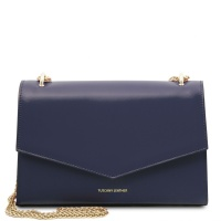 Tuscany Leather Fortuna - Leather clutch with chain strap  - Dark Blue