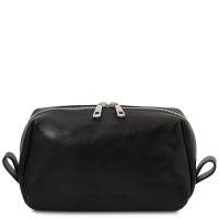 Tuscany Leather Owen - Leather toilet bag - Black