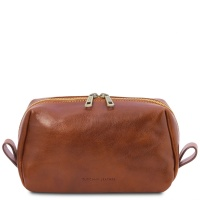Tuscany Leather Owen - Leather toilet bag - Honey