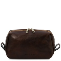 Tuscany Leather Owen - Leather toilet bag - Dark Brown