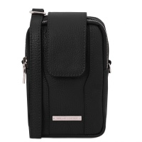 Tuscany Leather TL Bag - Soft Leather cellphone holder mini cross bag - Black