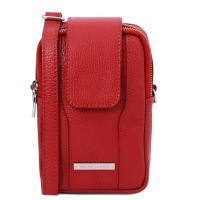 Tuscany Leather TL Bag - Soft Leather cellphone holder mini cross bag - Lipstick Red