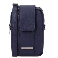 Tuscany Leather TL Bag - Soft Leather cellphone holder mini cross bag - Dark Blue