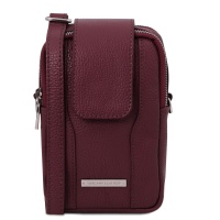 Tuscany Leather TL Bag - Soft Leather cellphone holder mini cross bag - Bordeaux