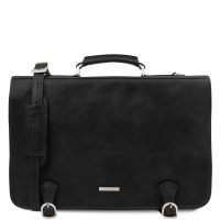 Tuscany Leather Ancona - Leather messenger bag - Black