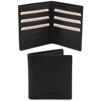 Tuscany Leather Exclusive 2 fold leather wallet for men - Black