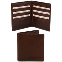 Tuscany Leather Exclusive 2 fold leather wallet for men - Dark Brown