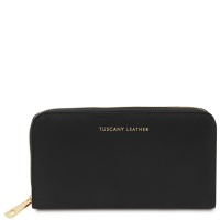 Tuscany Leather Venere - Exclusive leather accordion wallet with zip closure - Black
