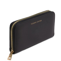 Tuscany Leather Venere - Exclusive leather accordion wallet with zip closure -