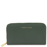 Tuscany Leather Venere - Exclusive leather accordion wallet with zip closure - Forest Green
