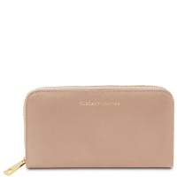 Tuscany Leather Venere - Exclusive leather accordion wallet with zip closure - Champagne
